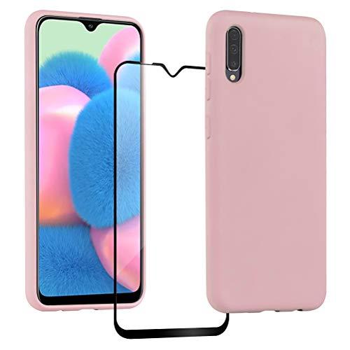XinYue Funda para Samsung Galaxy A30S / A50 + Protector Pantalla, Carcasa de Silicona Líquida Gel Ultra Suave Funda con tapete de Microfibra Anti-Rasguño - Rosa