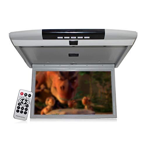 wansosuper Monitor Abatible para Techo De Coche De 15 Pulgadas, TV De Techo, Reproductor De Techo para Coche, Monitor Montado En El Techo con Tarjeta USB/SD/Puerto Hdmi,Grey