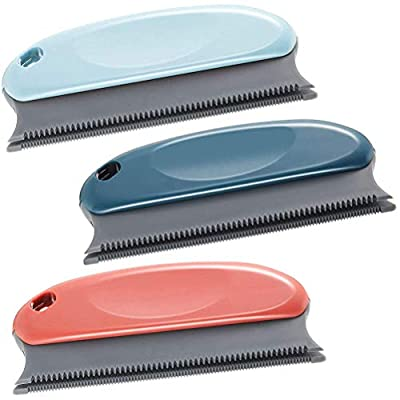 YUESEN 3 Pieces Pet Hair Remover Brush Cat Gog Hair Remover, Washable Reusable Professional Comb Lint Remover for Couch, Furniture, Carpet, Clothing, Blankets, Car, Bed(Red, Blue and Navy Blue)