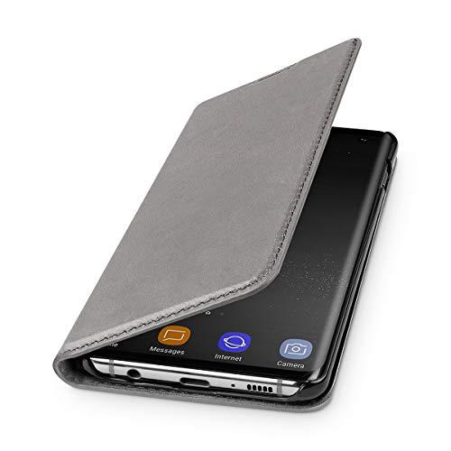 WIIUKA Echt Ledertasche - TRAVEL Nature - für Samsung Galaxy S10 - DEUTSCHES Leder - Vintage Grau, mit Kartenfach, extra Dünn, Tasche, Premium Leder Hülle kompatibel mit Samsung Galaxy S10