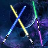 LOYALSE Light Up Saber LED Dueling Light Saber 2-in-1 Set Telescopic Extendable with Sound and Realistic Handle for Galaxy War Fighters and Warriors Halloween Party Stocking Idea Xmas Presents