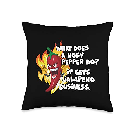 Funny 2021 Jokes Tees Gift Co. What does a nosy pepper do It gets jalapeno business. Throw Pillow, 16x16, Multicolor