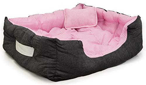 EYEPOWER Katzenbett Hundebett 70x60x18 cm Katzenkissen Hundekissen Waschbar Tierkissen Tierbett Innenkissen Pink