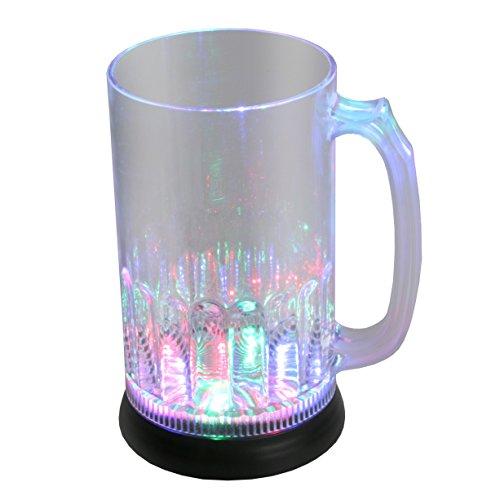 LED-Highlights Glas Becher Bierglas 800 ml LED Rgb bunt oder blinkend Batterie wechselbar Bar Kunststoff Trinkglas beleuchtet