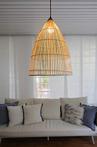 efaso BOURGH Bambus Lampe PERTUSO - Lampe hängend mit Lampenschirm Bambus, 41 cm Durchmesser, korbgeflecht - Hängeleuchte Hängelampe Kronleuchter Deckenleuchte Pendelleuchte Schlafzimmerlampe Laterne