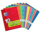 Oxford Lot de 10 Cahiers 17 x 22cm Grands Carreaux Seyès 96 pages 90g