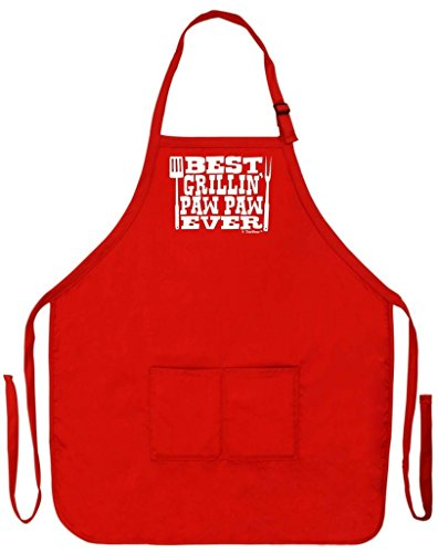 ThisWear Best Grillin' Paw Paw Ever Funny Apron for Kitchen BBQ Barbecue Cooking Grilling Bacon Two Pocket Apron for Grandpa or Dad Red
