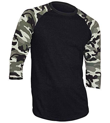 Dream USA Men's Casual 3/4 Sleeve Baseball Tshirt Raglan Jersey Shirt Black/Lt Camo 2XL