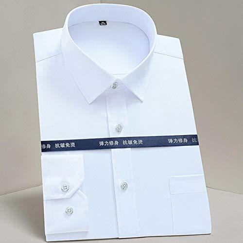Camisas de Vestir de Rayas Casuales elásticas sin Planchar para Hombres Camisas de Vestir con un Solo Parche Bolsillo de Parche Manga Larga Tops con Botones Juveniles