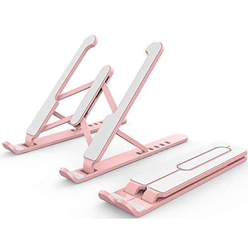 Laptop Stand, Laptop Holder Riser Computer Stand, 7 Angles Adjustable Aluminum Foldable Portable Notebook Stand, Compatible 10-15.6' Laptops And Tablets,Pink