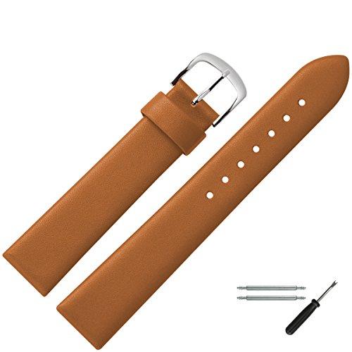 MARBURGER Uhrenarmband 18mm Leder Braun - Werkzeug Montage Set 6271834000120