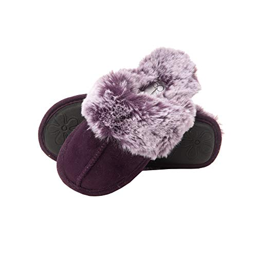 Jessica Simpson Girls Comfy Slippers - Cute Faux Fur Slip-On Shoes Memory Foam House Slipper, Purple, X-Large Little Kid
