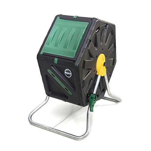Miracle-Gro DFSC70 70 Liter 18.5 Gallon Bin Spinning Tumbling Aeration Garden Waste Soil Composter with 3 Piece Hand Tool Kit, Black