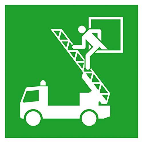 Aufkleber Rettungsausstieg gemäß ASR A1.3/DIN 7010, Folie nachleuchtend EverGlow HI 150, 15 x 15 cm (Rettungsfenster) praxisbewährt, wetterfest