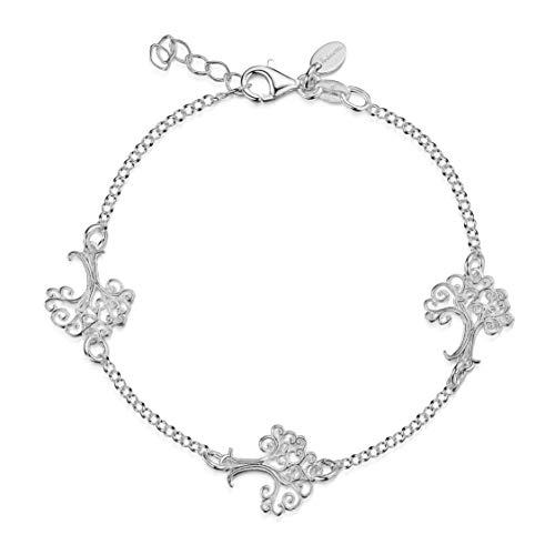 Amberta Women's 925 Sterling Silver Rolo Blecher Chain Bracelet with Charms (Adjustable Length 7 to 8 in): Celtic Tree of Life