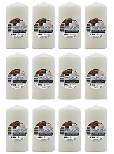 Lot de 12 bougies parfumées en noix de coco de grande taille XL 70 x 57 mm, voiles parfumées, longue durée et délicat, parfum citrique, 22-24 heures, aromathérapie par bougies