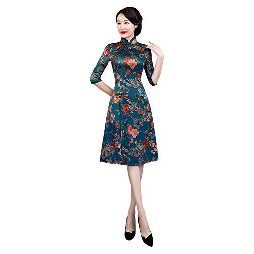 Meijunter Cheongsam Chino Qipao de Mujer - Floral Elegante Vintage Satén Vestido de Noche de Estilo Oriental Verde XL