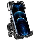 OMOTON Soporte Móvil Bicicleta, Anti-Vibración Soporte Móvil Moto de Operación con [Una Sola Mano], Rotación 360° Base Móvil Bici Compatible con iPhone 12, Galaxy y otros teléfonos, 4.7-7.1Pulgadas