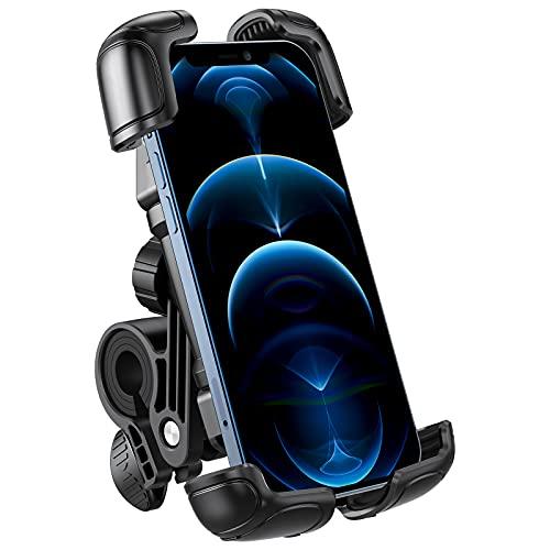 OMOTON Supporto Telefono Auto Super Stabile Addensato, Porta Telefono Moto Anti-Vibrazione Ruotabile a 360 °,Porta Cellulare Bici con Una Mano Sola con Blocco di Sicurezza per iPhone, Smartphone