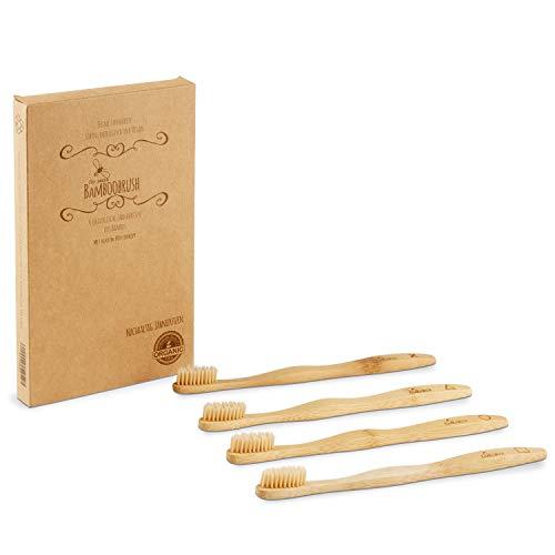 BeeClean Bamboobrush Set aus 4 Ökologischen Hand-Zahnbürsten für Erwachsene aus nachhaltigem Bambus-Holz mit mittel-weichen natur-Borsten in der biologisch abbaubaren Verpackung. Vegan und 100% ohne Plastik und PBA frei. 100% Bambus vom Schaft bis zur Borste