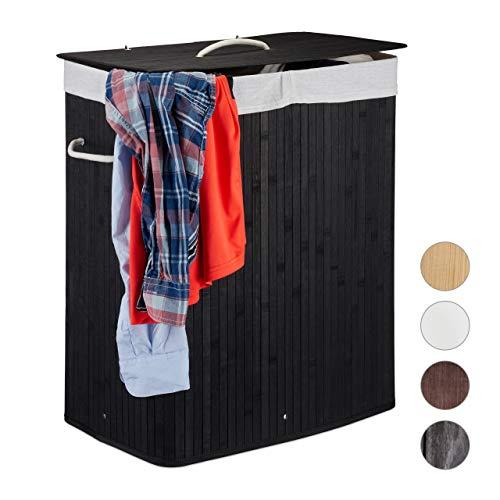 Relaxdays Cesto Ropa Sucia con Tapa y 2 Compartimentos, Cubo Colada Plegable, Canasta, Bambú, 95 L, Negro
