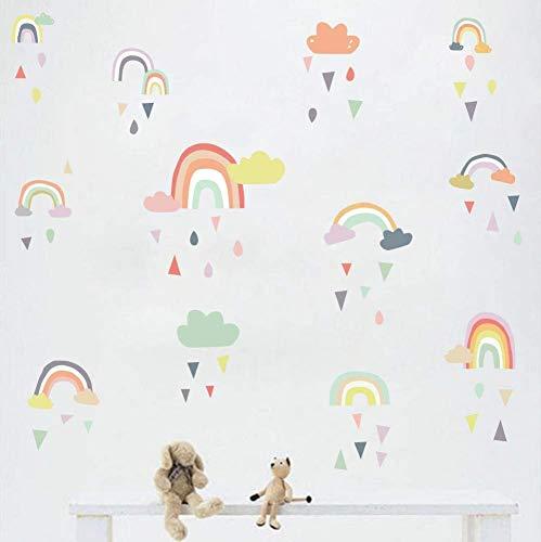 KAIRNE Regenbogen Wandtattoo Kinder, Süß Bunter Wandsticker, Wolken Wandaufkleber, Pastell Farben Baby Tapete Sticker, Aufkleber für Wand und Tapete Wohnzimmer Schlafzimmer Kinderzimmer Babyzimmer