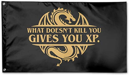 Bandiere What Doesnt Kill You Gives You XP Logo Garden Flag 3x5 FT Banner Flags Game Anniversary Decorations for Yard House Outdoor Party Supplies