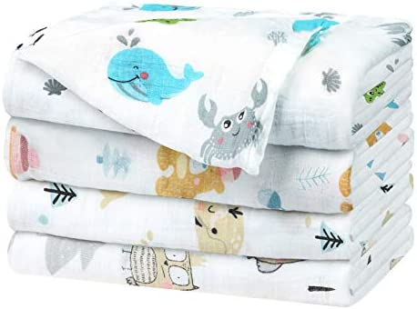 YOOFOSS Baby Muslin Swaddle Blanket 4 Pack Bamboo Cotton Swaddle Blanket for Newborn Infant product image