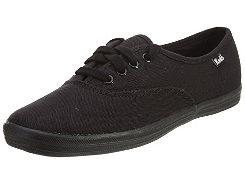 Keds womens Champion Canvas Sneaker, Black/Black, 9.5 Wide US