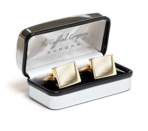 Personalisierte quadratische Gold-Manschettenknöpfe mit luxuriösem Chromgehäuse - Graviert - Geben Sie Ihren individuellen Text ein.