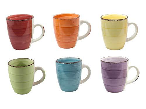 6er Set Kaffee Tee Kakao Becher Tassen Pott Uni bunt Modernes Design ca. 350 ml (Gelb,Grün,Orange,Blau,Rot und Lila)