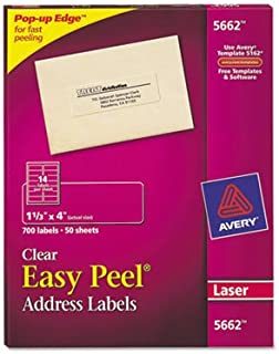 Easy Peel Laser Mailing Labels, 1-1/3 x 4, Clear, 700/Box, Total 3500 SH, Sold as 1 Carton