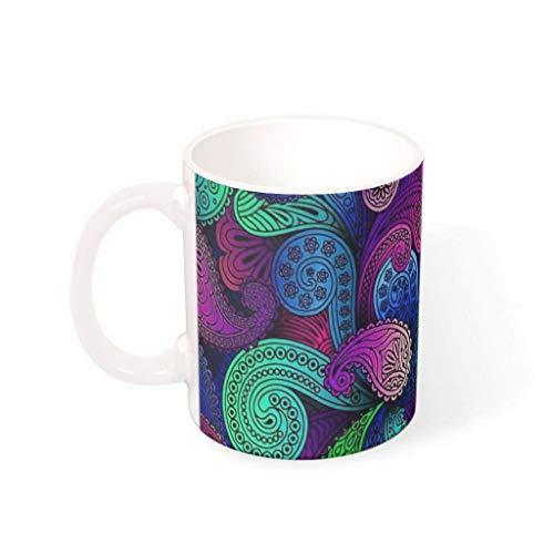 CCMugshop - Taza de café de cerámica con diseño de mandala, multicolor (330 ml), color blanco