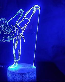 Creativa lámpara de mesa de karate shap usb 3d led luz de la noche de taekwondo junto a la cama arte marcial visión iluminación niños regalos juguete