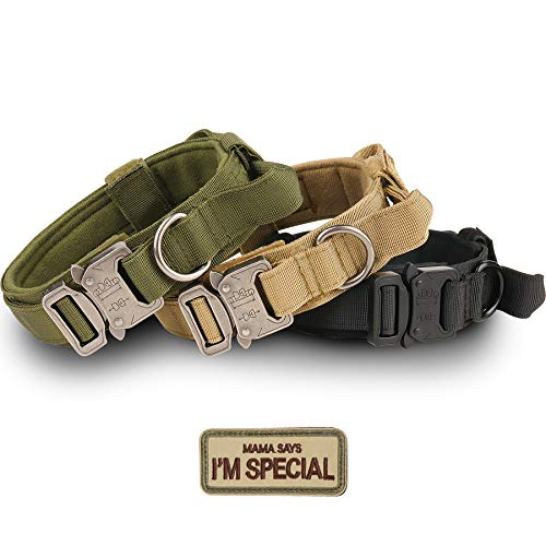 Tactical Dog Collar - KCUCOP Military Dog Collar with Mama Says I m Special Patch Thick with Handle K9 Collar Tactipup Dog Collars Adjustable Heavy Duty Metal Buckle for M,L,XL Dogs(Brown,XL)