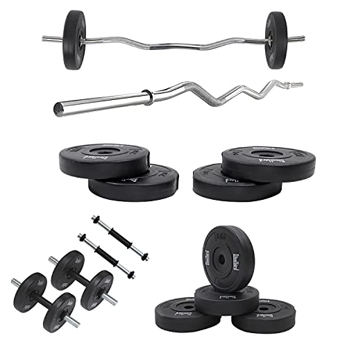 Steelbird 20KG Combo Home Gym Set (20 Kg Home Gym Set, Curl Rod +Dumbell Rod w/o Accessories), Black, Stainless steel