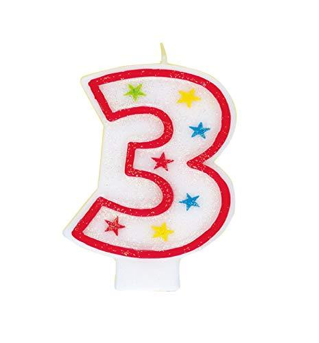 Unique Party 37313 - Candela per il Compleano Numero 3 Con Glitter e Decorazione per Torte 'Happy Birthday'