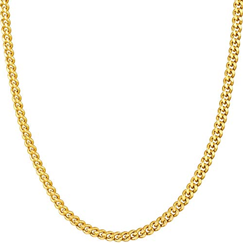 LIFETIME JEWELRY 3mm Curb Link Chain Necklace for Women & Men 24k Gold Plated (20.0)
