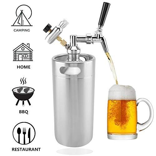3.6L Mini barril de cerveza, Dispensador de Growler presurizado de acero inoxidable con grifo para la elaboración casera de cerveza Cerveza artesanal Partido Bar Hotel Suministros