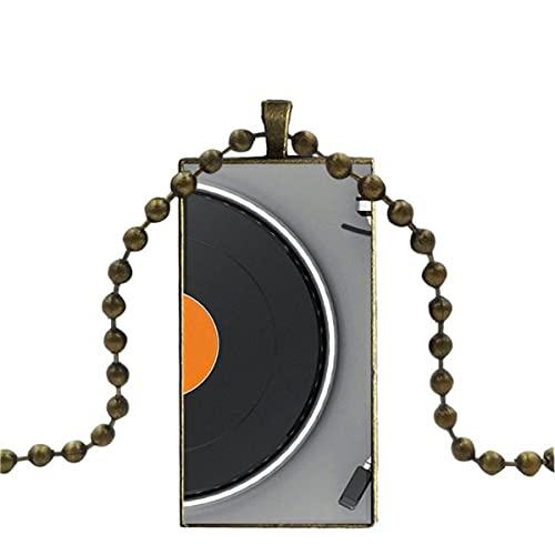 Soode Für Frauen Mädchen Halskette Mit Bronze beschichtetem Glas Cabochon Choker Langer Anhänger Rechteck Halskette Klassische Technik Plattenspieler Dj