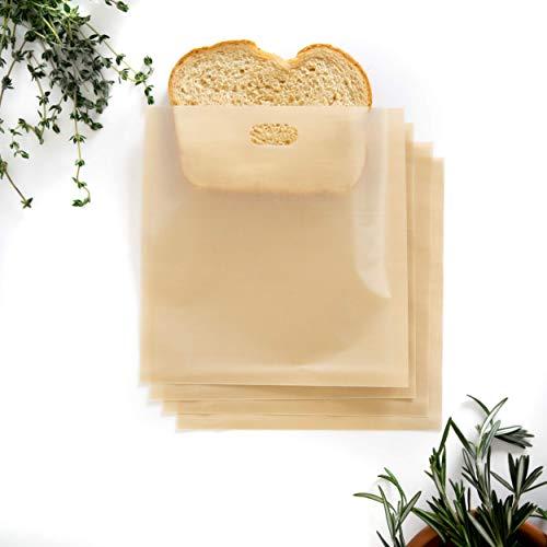 Bolsa de tostadora antiadherente de alta calidad (4 unidades) – Bolsas de tostadora de queso a la parrilla, resistentes al calor, reutilizables y fáciles de limpiar, lo último en tostadora de bocadillo sin líos, ideal para camping, universidad, dormitorio, viajes, oficina