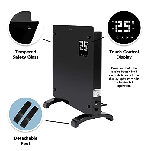 Devola-WiFi-Enabled-Electric-Glass-Panel-Heater-24-Hour-7-Day-Digital-Timer-With-Thermostat-Remote-Control-2kW-Electric-Radiator-Wall-Mounted-Or-Free-Standing-DVPW1000B-1000W-Black