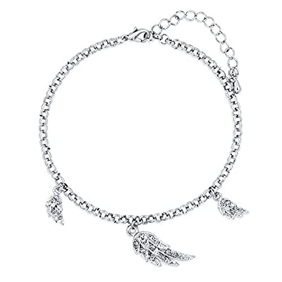 BERRICLE Rhodium Flashed Base Metal Angel Wings Fashion Charm Anklet
