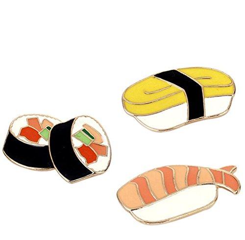 Preisvergleich Produktbild Gudeke Sushi Brotdose Fisch-T-Shirt Schal-Abzeichen Brosche und Pin-Set für Frauen Kinder (3 Stück)