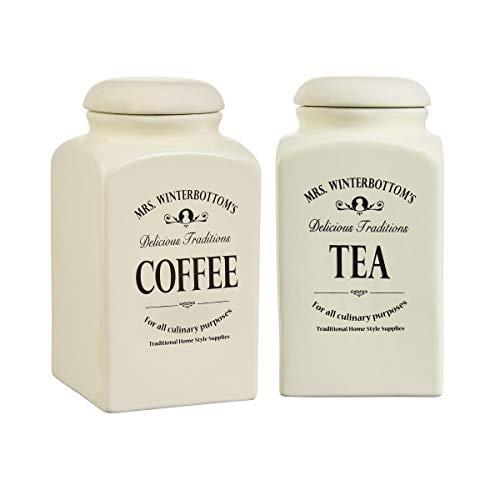 BUTLERS Mrs. Winterbottom's Vorratsdosen Set 2 x 1,3 l in Vintage Weiß - Teedose und Kaffeedose aus hochwertiger Keramik