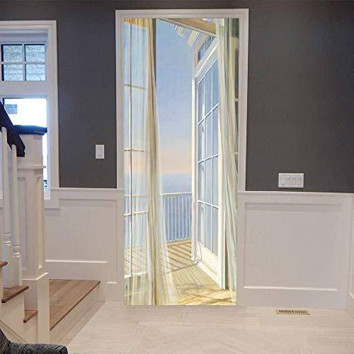 IDWX Etiqueta engomada de la Puerta 3D extraíble, Pegatinas para Puertas con mosquiteras Sunshine, Se Puede Utilizar para la decoración de Puertas de dormitorios y Salas de Estar 77 * 200 cm.