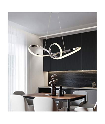 Lampadario led sospeso 50w intrecciato ondulato argento pendente design stile moderno lampada da soffitto luce per camera e interno (Luce fredda bianca)