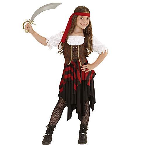 Widmann 05597 – Kinderkostüm, Piratin, Kleid, Korsett, Kopfband, Seeräuber Kostüm, verschiedene Größe, Karneval, Motto Party