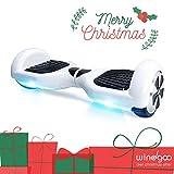 Windgoo N1 Overboard Hoverboard, 6.5 Pulgadas 250W 2WD Glyboard, Actualiza con Altavoces Bluetooth & Luz LED, Regalo para Niño Adulto (Blanco)