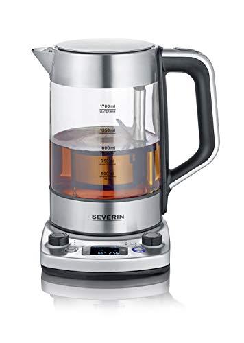 Severin 3422 - Hervidor de agua y té, 1.7 L, 3000 W, acero inoxidable y cristal